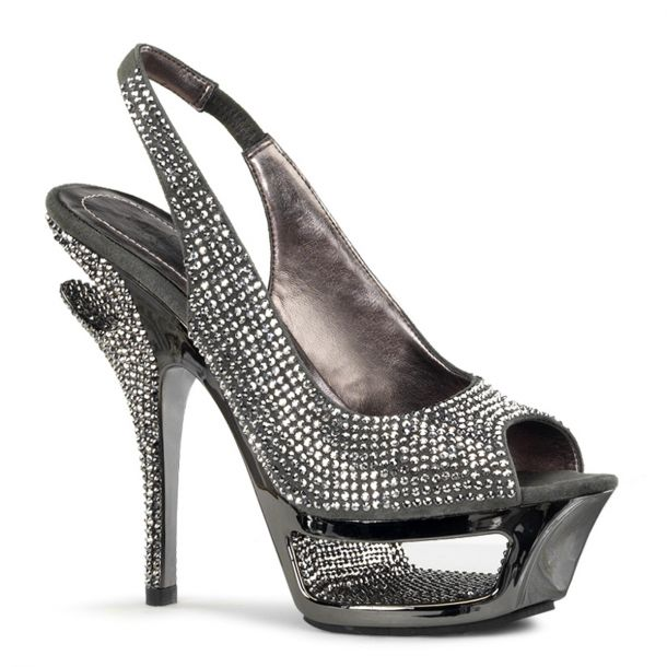 Strass High Heels DELUXE-654RS - Grau