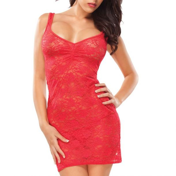 Tank Top Kleid aus Spitze : Rot*