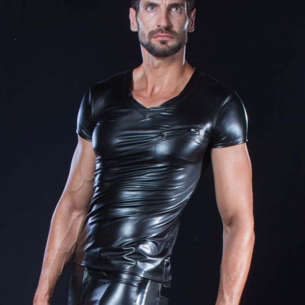 Wetlook V-Neck T-Shirt MATIS - Schwarz