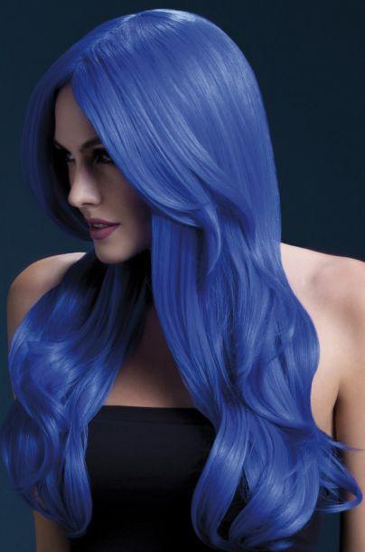 Langhaar Perücke KHLOE - Neon Blau