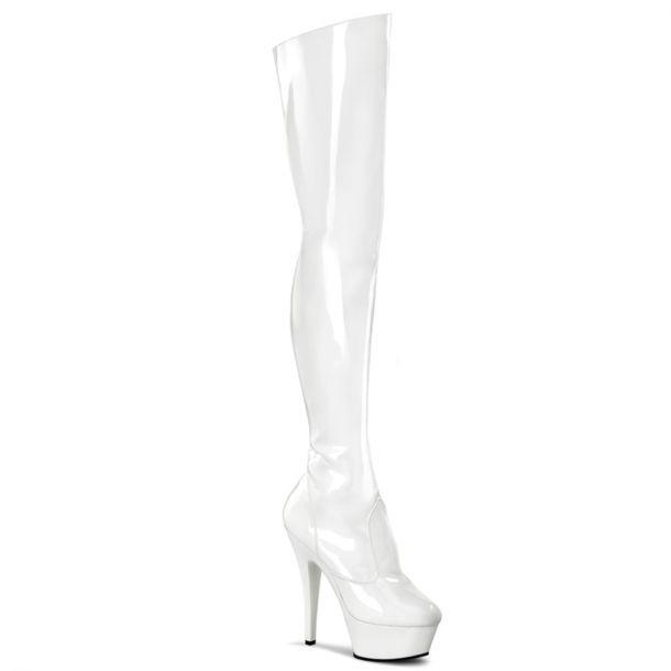 Plateau Overknee Stiefel KISS-3010 - Weiß