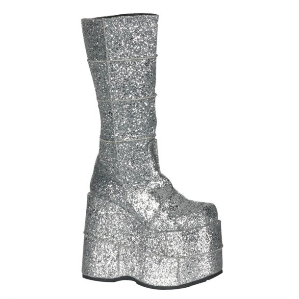 Plateau Stiefel STACK-301G - Glitter Silber