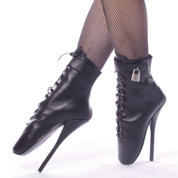 Fetish Heels BALLET-1025 - Leder Schwarz