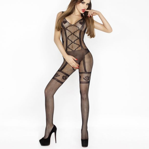 Straps-Look Bodystocking Ouvert BS018 – Schwarz*