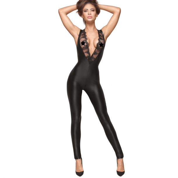 Ärmelloser Power Wet Look Catsuit F167*