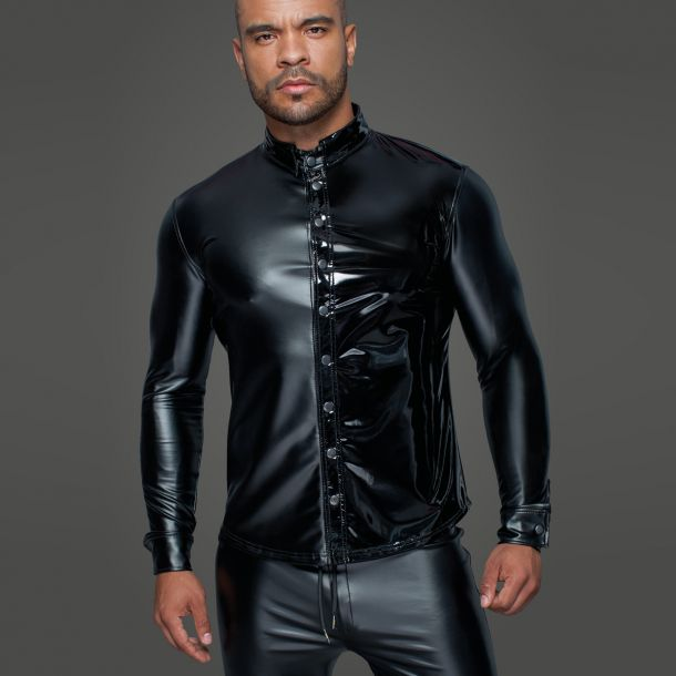Power Wetlook Herren Hemd H064 - Schwarz