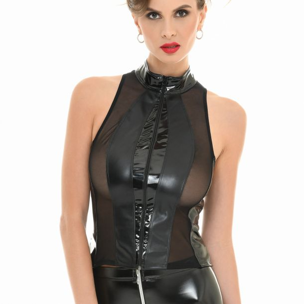 Wetlook Mesh Top AUDREY - Schwarz*