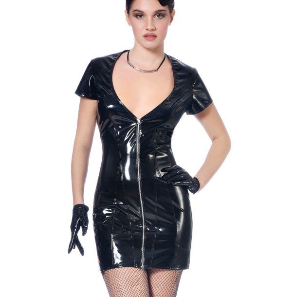 Kurzarm Lack Kleid NINON - Schwarz*