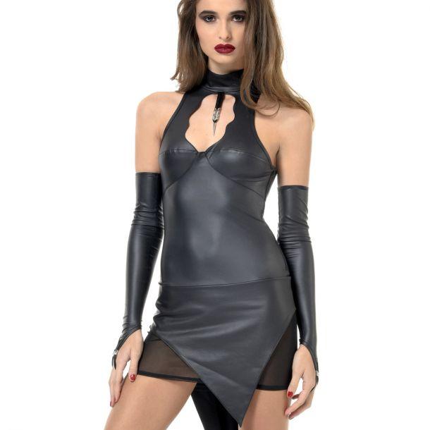 Rückenfreies Neckholder Wetlook Kleid BIBI*