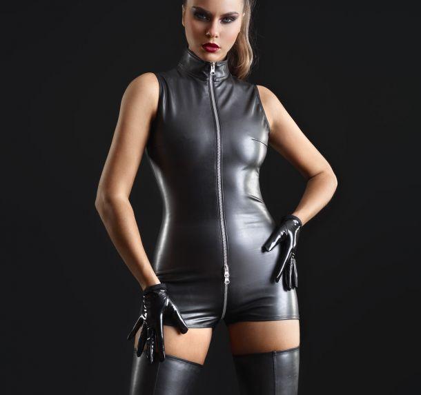 Lederimitat Bodysuit - Schwarz