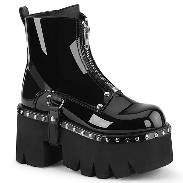 Gothic Ankle Boots ASHES-100 - Lack Schwarz*