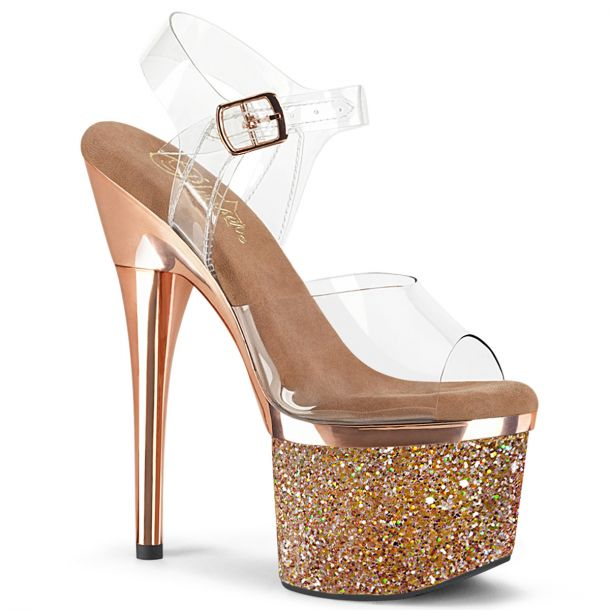 Plateau High Heels ESTEEM-708CHLG - Klar / Rose Gold