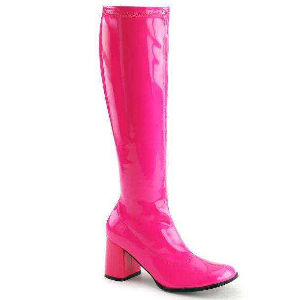 Retro Stiefel GOGO-300UV - Neon Lack Pink*