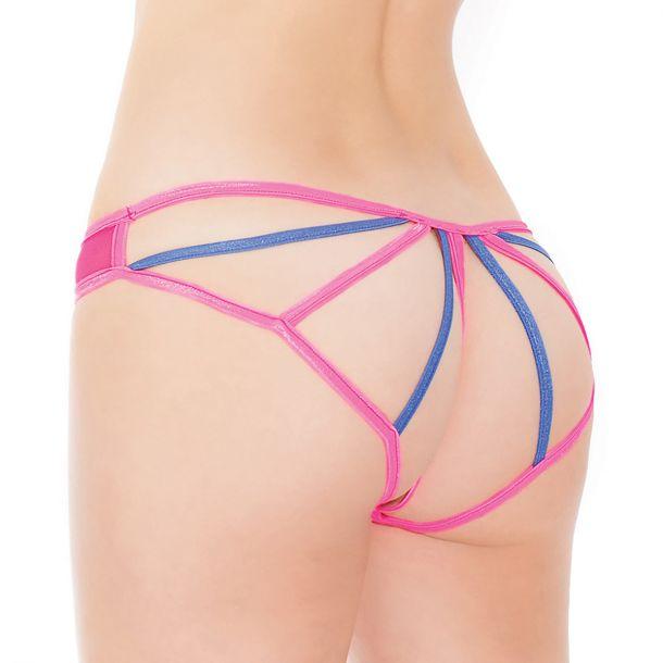 Panty mit offenem Po Bereich - Neon Pink/Blau*