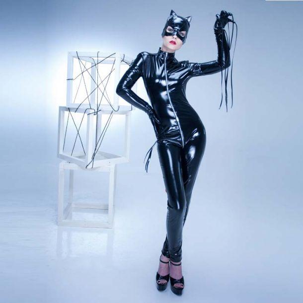 Stretchlack Catsuit - Schwarz