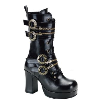 Steam Punk Boots GOTHIKA-100 - Schwarz