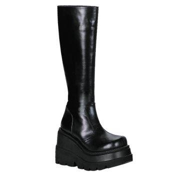 Gothic Stiefel (Vegan) SHAKER-100 - Lederimitat Schwarz