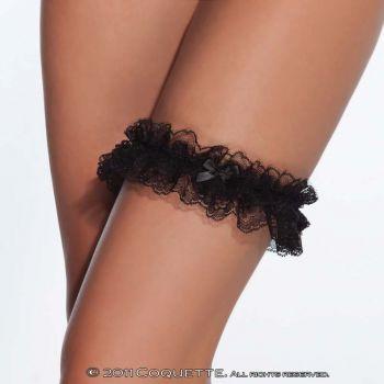 Strumpfband aus Spitze - Schwarz