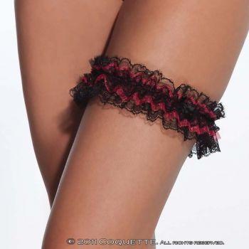 Strumpfband aus Spitze - Schwarz/Rot*