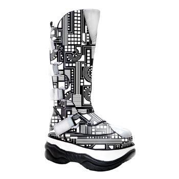 Cyber Boots NEPTUNE-309UV - Schwarz/Weiß