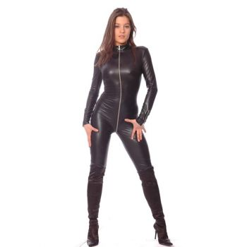 Wetlook Catsuit - Schwarz