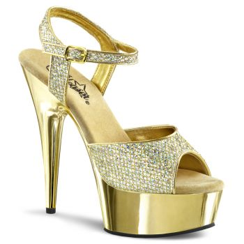 Plateau High Heels DELIGHT-609G - Gold Glitter