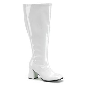 Retro Stiefel GOGO-300X (Weitschaftstiefel) - Lack Weiß