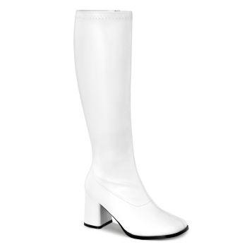 Retro Stiefel GOGO-300WC (Weitschaftstiefel) - PU Weiß*