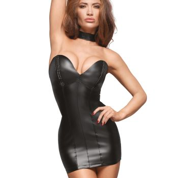 Schulterfreies Power Wetlook Minikleid F172