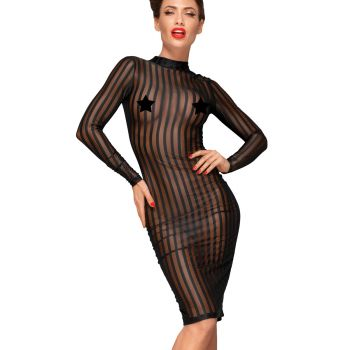 Transparentes gestreiftes Kleid F182 - Schwarz