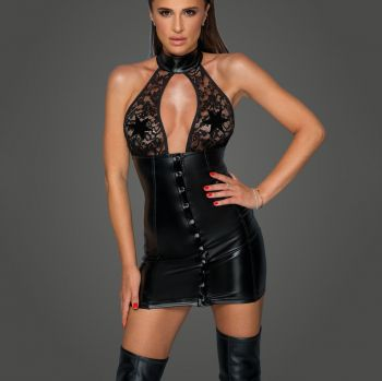 Power Wetlook Spitzen Minikleid F224