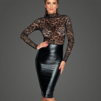 Power Wetlook Spitzen Kleid F228