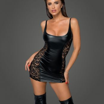 Power Wetlook Spitzen Minikleid F229
