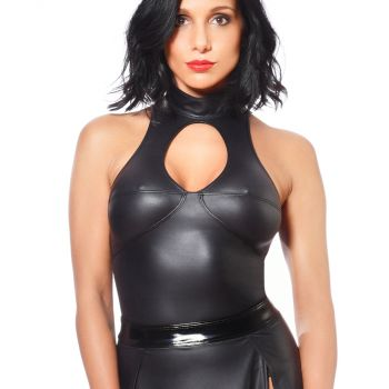 Neckholder Wetlook Top - Schwarz