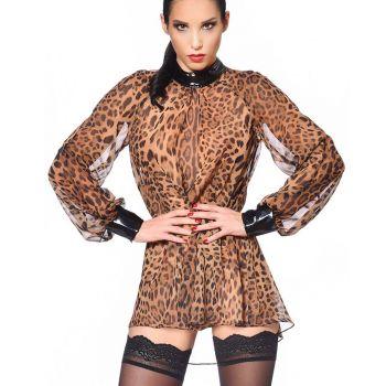 Transparente Bluse EMILIA - Leoparden Print