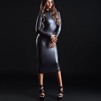 Langes Wetlook Kleid LEXI - Schwarz