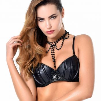Wetlook / Lack BH RUBY - Schwarz