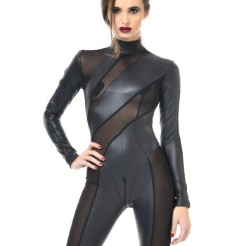 ZIA Wetlook Catsuit - Schwarz