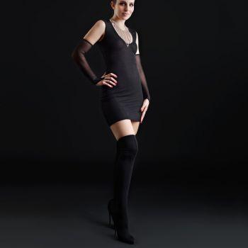 Stretch Minikleid mit Meshrücken - Schwarz