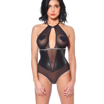 Mesh String-Body mit Wetlook Details - Schwarz