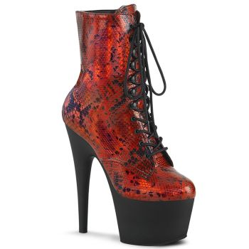 Plateau Stiefelette ADORE-1020SP - Rot Holo Schlangenprint