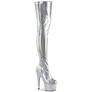 Plateau Overknee Stiefel ADORE-3000HWR - Silber