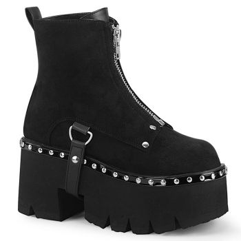 Gothic Ankle Boots ASHES-100 - Velour Schwarz