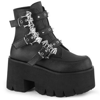 Gothic Ankle Boots ASHES-55 - Lederimitat Schwarz