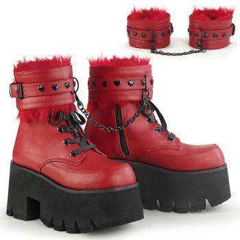 Gothic Ankle Boots ASHES-57 - Lederimitat Rot