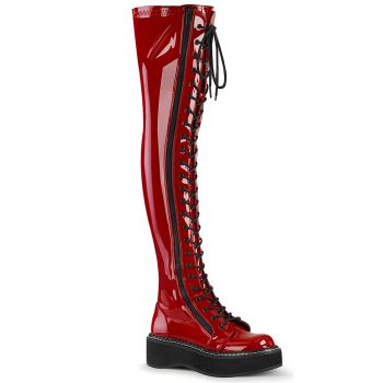 Gothic Plateaustiefel EMILY-375 - Lack Rot