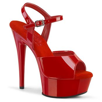 Plateau High Heels EXCITE-609 - Lack  Rot