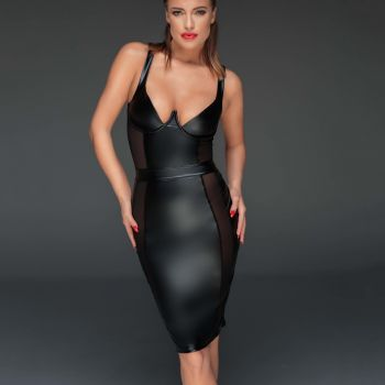 Wetlook Pencil Kleid F151 - Schwarz