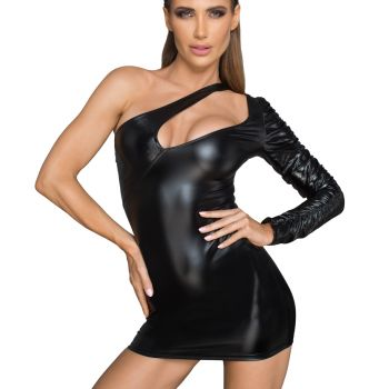 Asymmetrisches Power Wetlook Minikleid F199