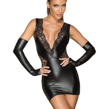 Power Wetlook Spitzen Minikleid F212